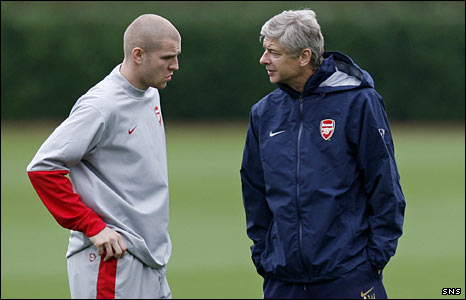 Philippe Senderos and Arsene Wenger