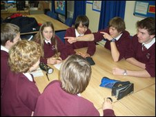 Rodborough School students in their editorial meeting