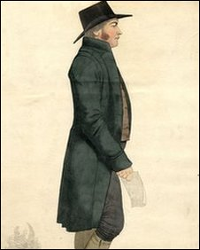 Caricature of a Quaker businessman by Richard Dighton