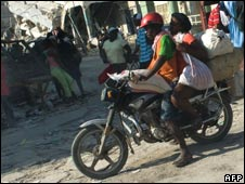 Heavily laden motorbike, Haiti, 18 Jan