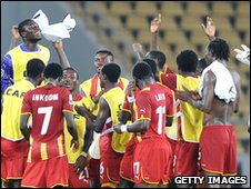 Ghana's players celebrate their win over Burkina Faso