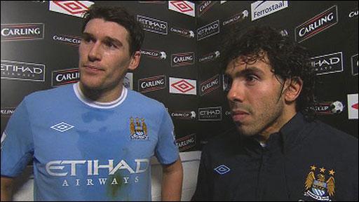 Manchester City's Gareth Barry & Carlos Tevez