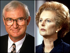 John Birt and Margaret Thatcher composite picture
