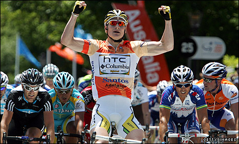 Andre Greipel celebrates winning the second stage in Australia