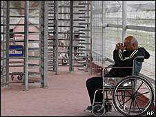 A medical patient waits at Erez crossing from Gaza into Israel