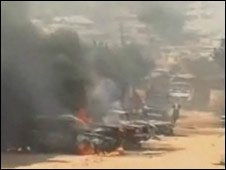 Cars on fire in Jos