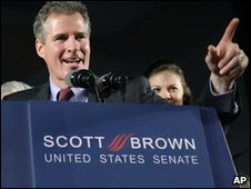 Scott Brown celebrates his victory in the special senate election in Massachusetts