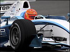 Michael Schumacher drives a GP2 car
