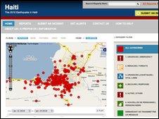 Ushahidi Haiti map screengrab