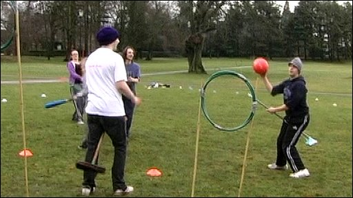 Students play quidditch