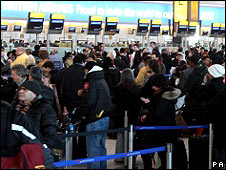 Passengers at London's Heathrow Airport
