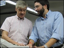 Neil Kearney and Javier Chercoles in the factory