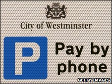 Parking sign in Westminster