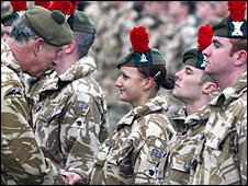 Prince Charles presents medals to Black Watch soldiers