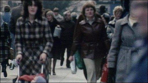 A street scene in 1980s Leeds