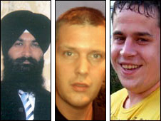 Murder victims (L-R) Sukhwinder Singh, Frazer Bradshaw, David Joslin