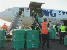 ShelterBoxes being loaded at Newquay Airport