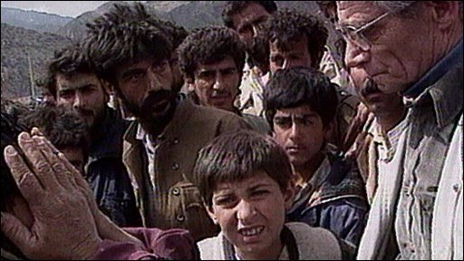 Kurd refugees confront Charles Wheeler