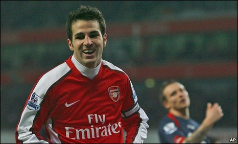 Cesc Fabregas celebrates scoring for Arsenal