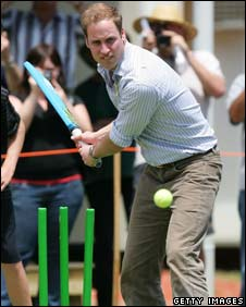 Prince William playing cricket in the Australian town of Flowerdale
