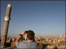 A tourist in the Yemen capital, Sanaa