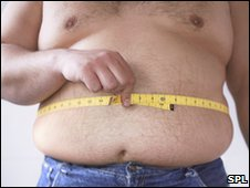 Fat man measuring his waist with tape measure