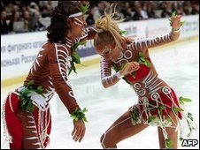 "Oksana Domnina and Maxim Shabalin's ""Aboriginal dance"" at the Russian National Figure Skating Championships in St. Petersburg"