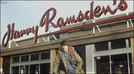 John Noakes outside Harry Ramsdens
