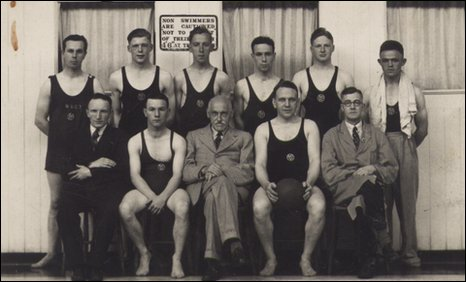 The first Buckley water polo team pictured in 1937