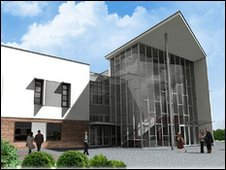 Artist's impression of entrance to new Cromer Hospital