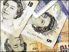 Five and ten pound notes