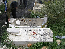 Damaged gravestones at Awarta village