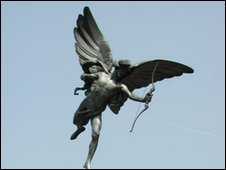 Statue of Anteros in Picadilly Circus - commonly assumed to be Eros otherwise known as Cupid