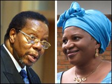 The president of Malawi, Bingu wa Mutharika, and his bride-to-be Calista Chapola-Chimbombo