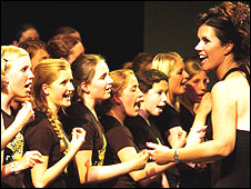 Caroline Redman Lusher with a Rock Choir