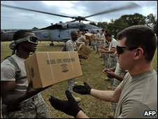 US troops sort aid in Haiti (19 Jan 2010)
