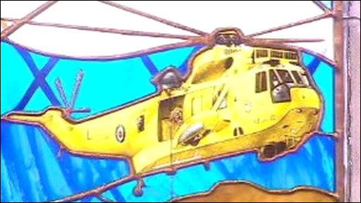 RAF seaking helicopter depicted in stained glass