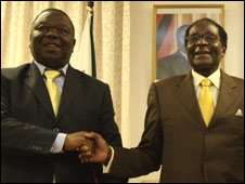 MDC leader and Zimbabwean Prime Minister Morgan Tsvangirai (L) and Robert Mugabe (R), December 2009
