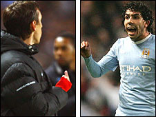 Gary Neville (left) makes a hand gesture to Carlos Tevez (right)