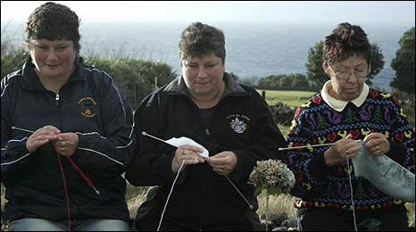 Archive picture showing three local women knitting in  Tristan da Cunha.