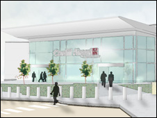 Exterior design of terminal upgrade at Cardiff Airport