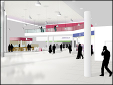 Interior design of terminal upgrade at Cardiff Airport