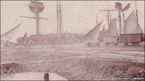 Buckley Railway at Brick Wharf, Connah's Quay, c1875