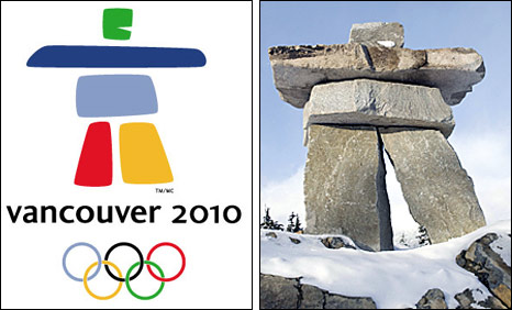 The Vancouver 2010 logo and the Whistler inukshuk