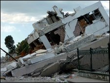 Government building destroyed by earthquake