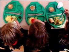 School lunch trays and pupils