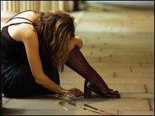 Women slumped on pavement