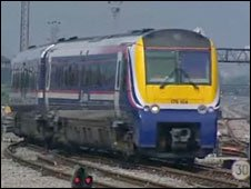 First Great Western Train approaching Cardiff Station