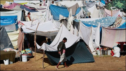 Temporary camp in Port-au-Prince