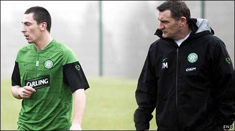 Celtic midfielder Scott Brown and manager Tony Mowbray